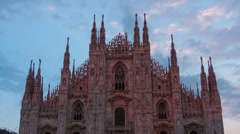 Cathedral Duomo di Milano in twilight, timelapse Stock Footage