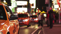 SLO MO MS Couple getting out of cab, Times Square, New York City, USA Stock Footage