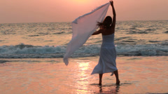 Beautiful Girl With White Scarf Stock Footage