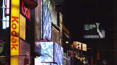 Stock Video Footage of MS Illuminated advertisements at Times Square at night, New York City, New York,