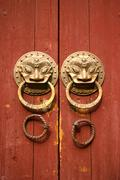 Double lion knobs on an old wooden gate - stock photo