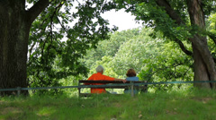 Elderly couple sitting on a bench in the park 2 Stock Footage