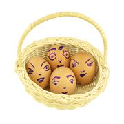 Happy and fun emoticons eggshell in basket isolated Stock Photos