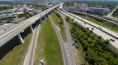 Aerial Golden Glades Interchange and Jackson North Medical Center Stock Footage