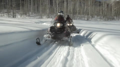 Aspen Snow Snowmobilers Stock Footage
