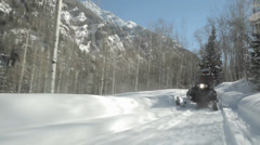 Snowmobilers Aspen Colorado Mountains Stock Footage