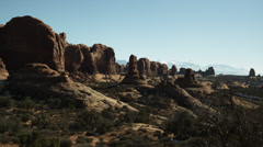 WS PAN Rock formations in Arches National Park / Utah, USA Stock Footage