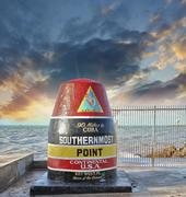 Southernmost Point sign in Key West, Florida. Beautiful seascape - stock photo