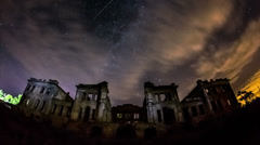 Motion timelapse of an old fortress with a starry sky on a background. Stock Footage