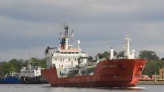 Happy Bride LPG tanker enters port in Gdansk , Poland 2 Stock Footage