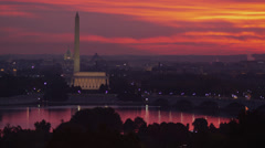 WS HA View of the Mall illuminated at sunrise, Washington D.C, USA Stock Footage