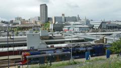 Tram, sheffield skyline, yorkshire, england Stock Footage