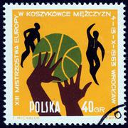 Basketball on Polish stamp - stock photo