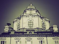 Vintage sepia San Lorenzo church, Turin - stock photo