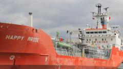 Happy Bride LPG tanker enters port in Gdansk, Poland Stock Footage