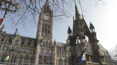 Manchester Town Hall and Albert Square - stock footage