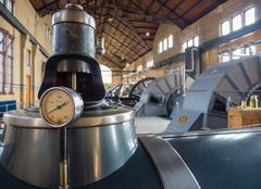 machine room of historic steam pumping station - stock photo