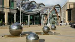 Sheffield winter garden glasshouse, millennium square, england Stock Footage