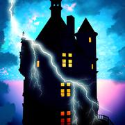 Haunted house with lightning Piirros