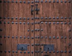 Baroque wooden door - stock photo