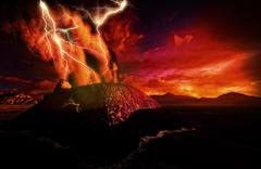Anak Krakatau erupting - stock illustration