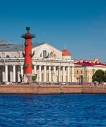View of St. Petersburg. Rostral column Stock Photos