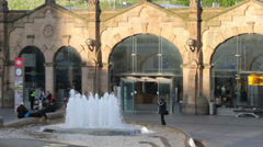 Sheffield railway station, sheaf square fountains, england Stock Footage