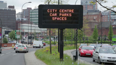 City centre traffic car park sign, sheffield, england Stock Footage