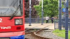 Tram, sheffield, yorkshire, england Stock Footage