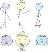 Three Emotional Stick People - stock illustration