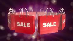 Red SALE Shopping Bag on twinkle background Stock Footage