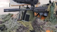 Swat team police firearms guns and weapons machine gun shotgun sniper rifle Stock Footage