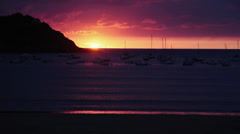 Sunset at San Sebastian Beach Donostia Stock Footage