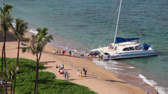 Kaanapali Beach catamaran 3 Stock Footage