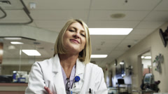 MS Portrait of female doctor in clinic / Payson, Utah, USA Stock Footage
