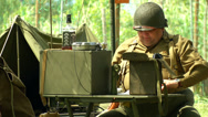 Stock Video Footage of US soldiers at command post during a WWII reenactment 3