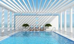 Stock Illustration of contemporary holiday villa with pool