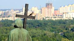 Monument to St. Vladimir in Kyiv, Ukraine Stock Footage
