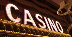 Casino lights on building sign flashing 4k Stock Footage