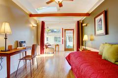 detached small guest house vacation rental cottage. - stock photo