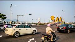 The transportation near the Dragon Bridge in Da Nang, Vietnam Stock Footage
