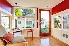detached guest house vacation rental cottage. interior. - stock photo
