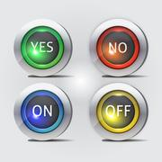 yes no and on off buttons - stock illustration