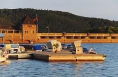 Waterside from the Dam of the Edersee at the sunset - stock photo