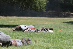 civil war reenactment - stock photo