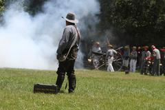 civil war reenactment - stock photo