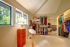 spacious walk-in closet - stock photo