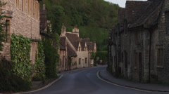 WS Village with stone houses / Castle Combe, Cotswolds, Wiltshire, UK - stock footage
