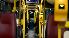 People travel by bus. Red seat. Stock Footage
