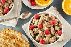 healthy whole wheat shredded cereal - stock photo
